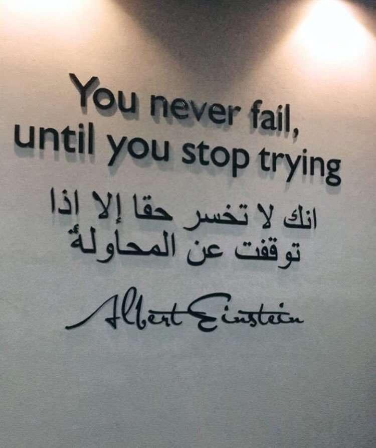 انك لا تخسر حقاً إلا اذا توقفت عن المحاولة